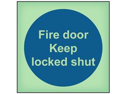 Fire door keep locked shut photoluminescent safety sign