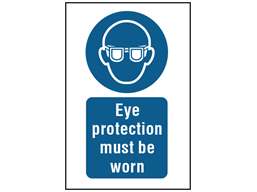 Eye protection must be worn symbol and text safety sign.