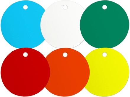 Plain Plastic Tags (Circular, 55mm Diameter)