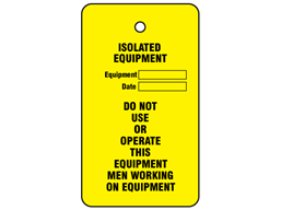 Isolated equipment tag.