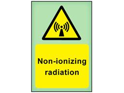 Non-ionizing radiation photoluminescent safety sign