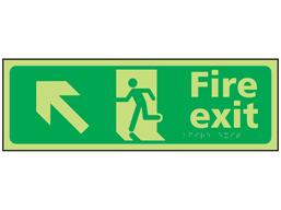 Fire exit arrow up left photoluminescent sign.