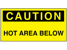 Caution hot area below electrical warning label