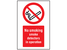 No smoking, smoke detectors in operation symbol and text safety sign.