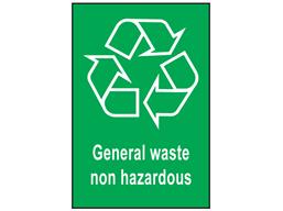 General waste non hazardous recycling sign.