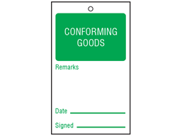 Conforming goods tag