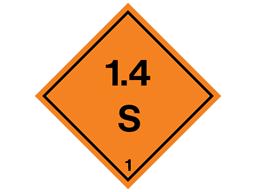 Explosive 1.4 S hazard warning diamond sign