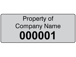 Assetmark foil serial number label (black text), 19mm x 50mm