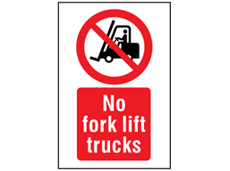 No fork lift trucks symbol and text safety sign.