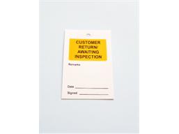 Customer return/awaiting inspection tag