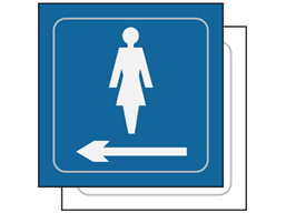 Ladies toilet, arrow left symbol sign.
