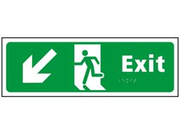 Exit, running man, arrow down left sign.