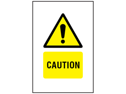Caution symbol and text safety sign.