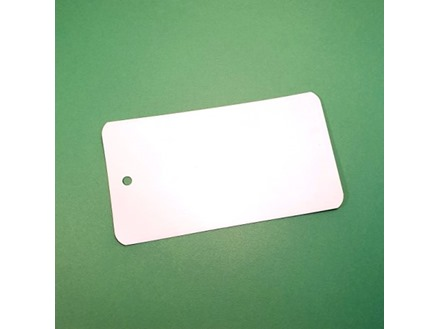 Lacquered steel metal tags, 70mm x 125mm