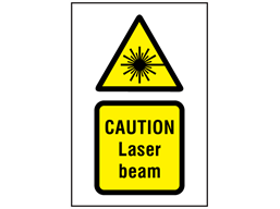 Caution Laser beam hazard symbol and text safety sign.
