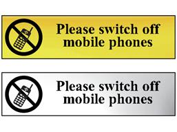 Please switch off mobile phones metal doorplate