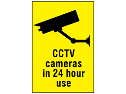 CCTV cameras in 24 hour use sign