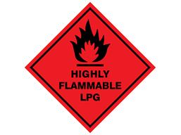 Highly flammable lpg hazard warning diamond label, magnetic