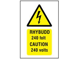 Rhybudd 240 folt, Caution 240 volts. Welsh English sign.