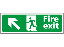 Fire exit, running man, arrow up left sign.