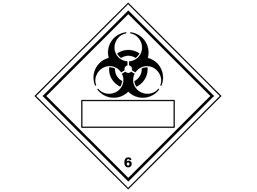 Biological hazard, class 6, hazard diamond label (with write on panel)