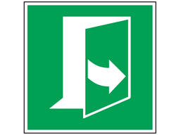 Pull to open (arrow right) sign.
