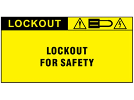 Lockout for safety label