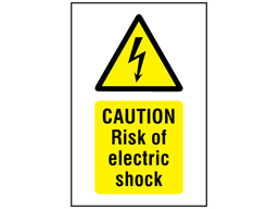 Caution Risk of electric shock symbol and text safety sign.
