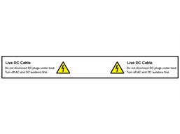 Live DC cable PV hazard label
