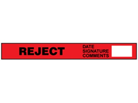 Reject quality assurance tape