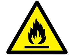 Flammable hazard warning symbol label.