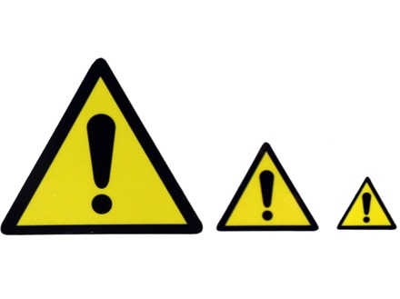 Caution Triangle Label | Yellow Triangle with Exclamation Mark