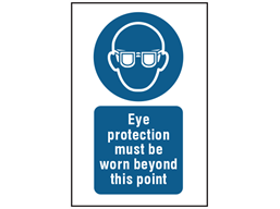 Eye protection must be worn beyond this point symbol and text safety sign.