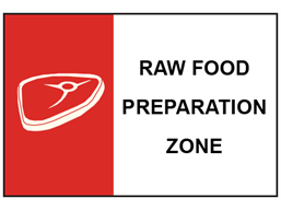 Raw food preparation zone safety sign.