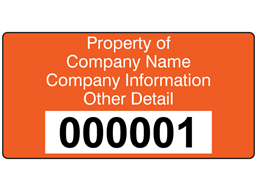 Assetmark serial number label (text on colour), 38mm x 76mm