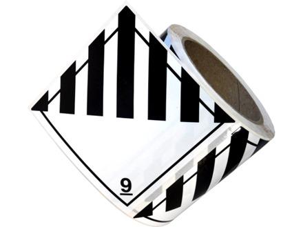Hazardous solid, class 9, hazard diamond label