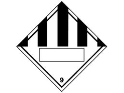 Hazardous solid, class 9, hazard diamond label (with write on panel)