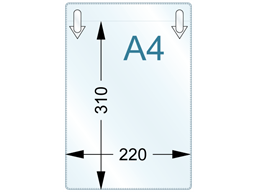 Document pocket, A4 vertical, with clip attachments