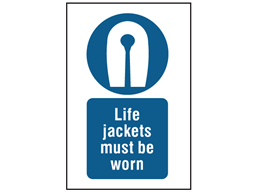 Life jackets must be worn symbol and text safety sign.