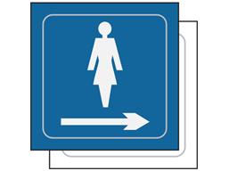 Ladies toilet, arrow right symbol sign.