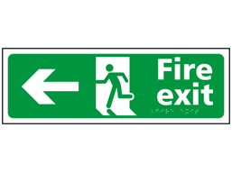 Fire exit, running man, arrow left sign.