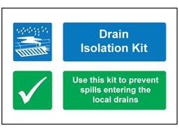 Drain isolation kit sign.