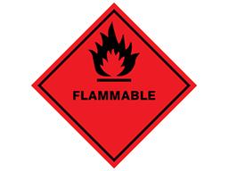 Flammable hazard warning diamond sign