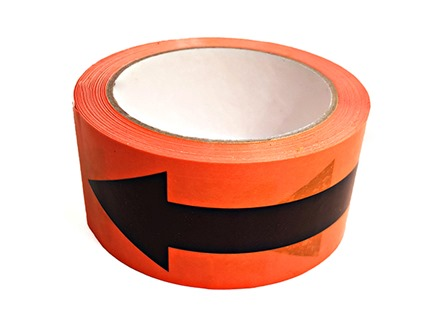 Safety and floor direction tapes, black arrow on orange.