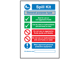 General purpose spill kit sign.