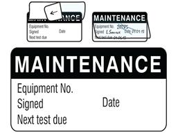 Maintenance jumbo write and seal labels.