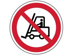 Fork lift truck prohibited symbol floor graphic marker.