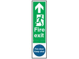 Fire exit, running man right, arrow ahead. Fire door keep shut sign.