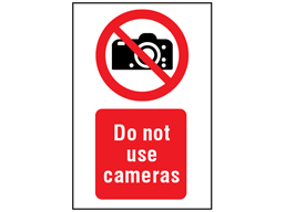 Do not use cameras symbol and text safety sign.