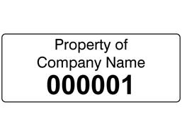 Assetmark+ serial number label (black text), 19mm x 50mm